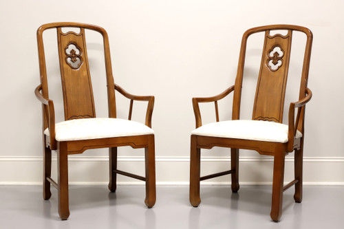 THOMASVILLE Mystique Asian Chinoiserie Dining Captain's Armchairs - Pair
