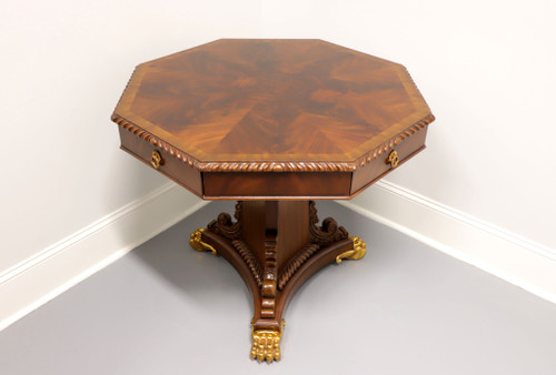 MAITLAND SMITH Regency Inlaid Flame Mahogany Octagonal Center Table w/ Paw Feet