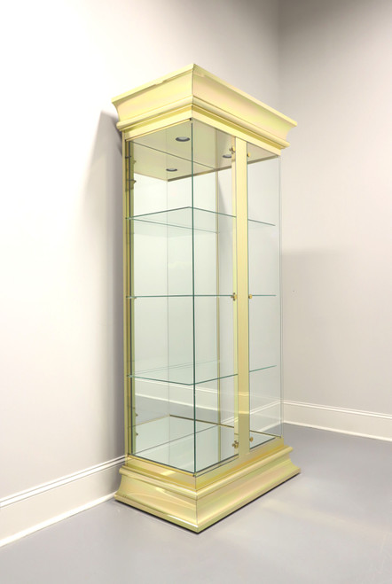 Vintage 20th Century Brass & Glass Curio Display Cabinet