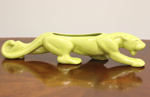 Vintage MCM Mid Century Modern Chartreuse Ceramic Panther Planter