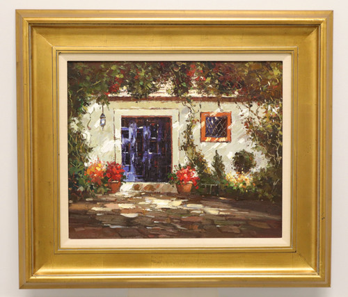 Mid 20th Century Oil on Canvas Painting of a French Country Cottage