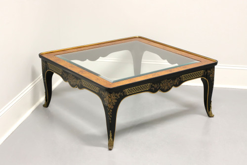 DREXEL HERITAGE Asian Chinoiserie Black Lacquer Glass Top Coffee Cocktail Table