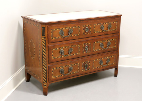 BAKER Neoclassical Walnut Inlaid Marble Top Occasional Chest