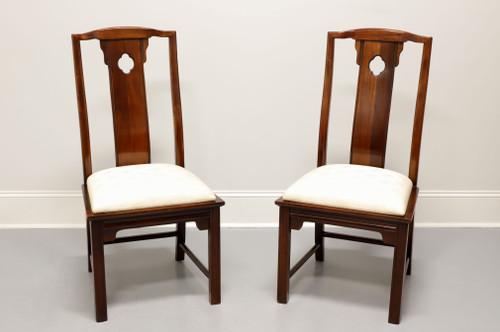 THOMASVILLE Mahogany Asian Chinoiserie Dining Side Chairs - Pair B