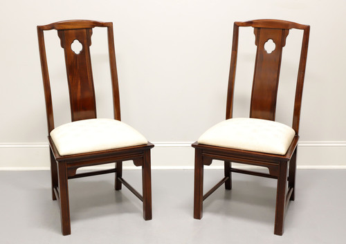 THOMASVILLE Mahogany Asian Chinoiserie Dining Side Chairs - Pair A
