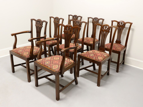 Antique 19th Century Mahogany Chippendale Cottage Dining Chairs - Set of 8