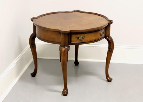 Vintage Burl Walnut Round Queen Anne Accent Table