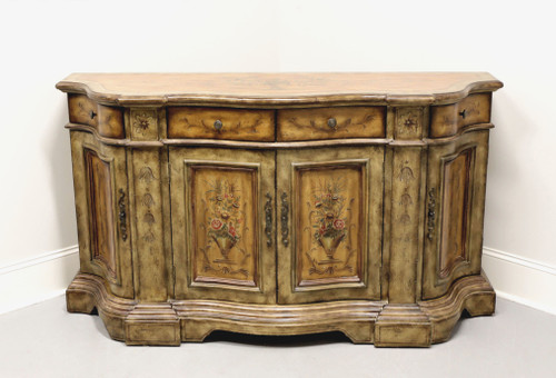 French Country Paint Decorated Serpentine Buffet Console Cabinet