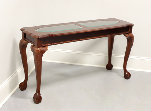 Vintage Mahogany Chippendale Glass Top Console Table
