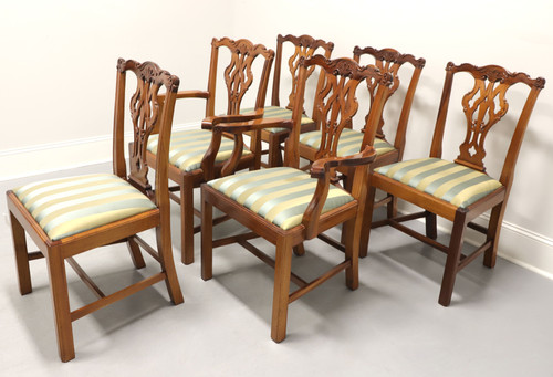 GEORGIAN FURNISHINGS Solid Mahogany Chippendale Dining Chairs - Set of 6