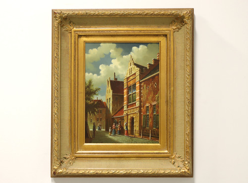 SOLD - 20th Century Original Oil on Board - Medieval Town A - Unknown Artist