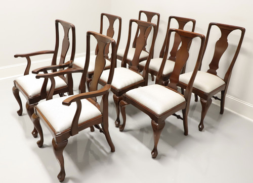 CRAFTIQUE Solid Mahogany Queen Anne Dining Chairs - Set of 8