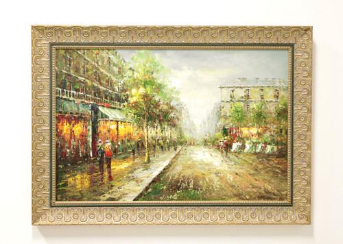 20th Century Original Oil on Canvas - European Street Scene - Signed Morgan Reid