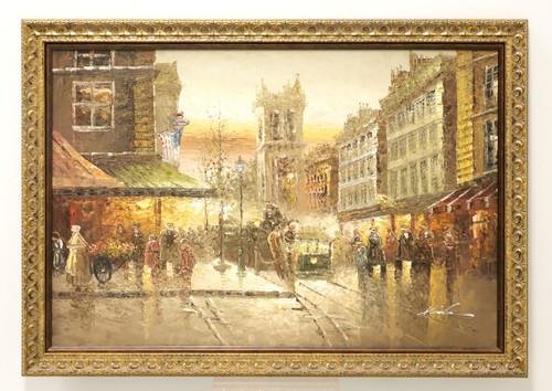 20th Century Original Oil on Canvas - American Street Scene - Signed