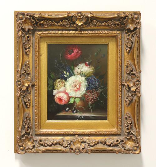 SOLD - 20th Century Original Oil on Canvas - Pink, White, Blue Bouquet - Unknown Artist