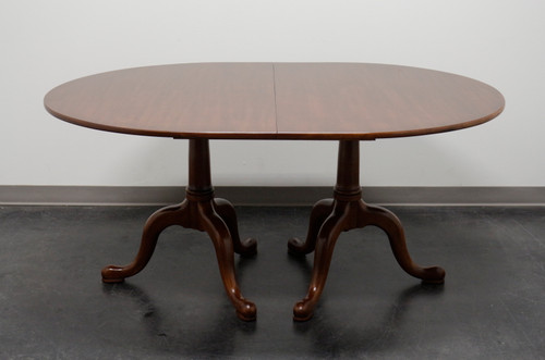 SOLD - HENKEL HARRIS 2209 24 Solid Wild Black Cherry Double Pedestal Oval Dining Table