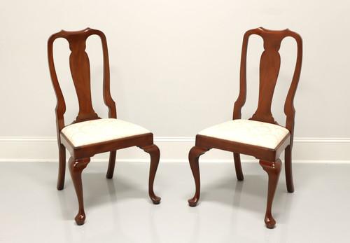 HENKEL HARRIS 105S 24 Solid Wild Black Cherry Queen Anne Dining Side Chairs - Pair A