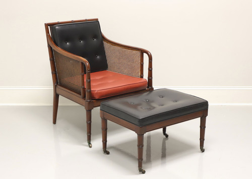 W & J Sloane Faux Bamboo, Cane & Leather Mid 20th Century Lounge Chair w/ Ottoman