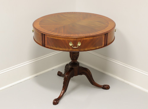 SOLD - HENKEL HARRIS Inlaid Banded Mahogany Round Drum Table w/ Ball In Claw Feet