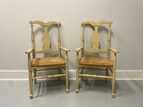 Vintage Italian Distressed Creamy Yellow Painted Rush Seat Armchairs - Pair