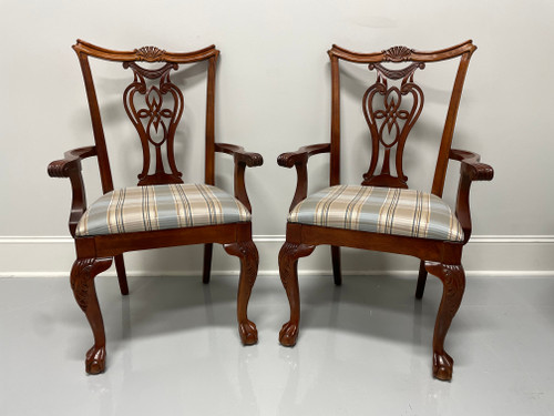 PENNSYLVANIA HOUSE Solid Cherry Chippendale Style Ball in Claw Dining Armchairs - Pair