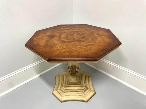 WEIMAN Mediterranean Style Octagonal Burl Wood Pedestal Accent Table