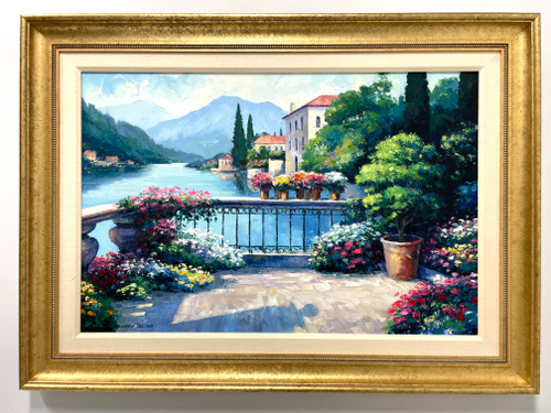 "20th Century Original Oil Impasto Painting on Canvas - ""Garden at Orta"" by John Zaccheo"