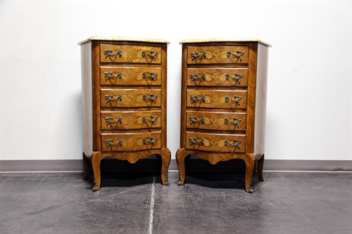 French Louis XV Style Inlaid Kingwood Marble Top Lingerie Chests - Pair