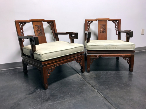 Asian Korean Carved Mahogany Lounge Chairs - Pair