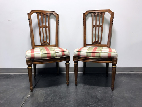 HENREDON Capri Mid Century Italian Provincial Neoclassical Dining Side Chairs - Pair