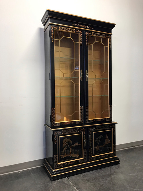 ... SOLD OUT   HABERSHAM Asian Chinoiserie Black Lacquer Curio China Display  Cabinet ...