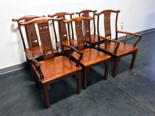 Solid Rosewood Carved Asian Dining Chairs - Set of 6