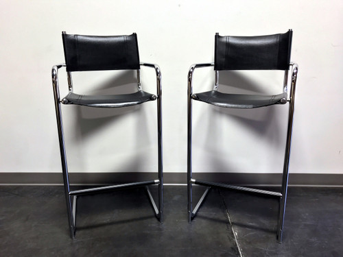 MART STAM Chrome & Black Leather Bar Stools - Made in Italy