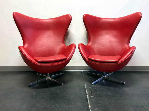 Jacobsen Egg Chair Replica In Red Leather Pair Boyds Fine
