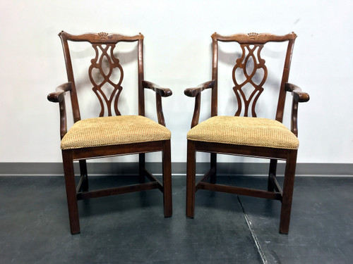 Chippendale Straight Leg Solid Cherry Dining Captain's Armchairs by Cresent - Pair