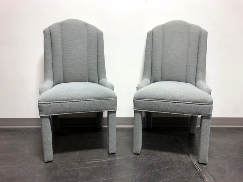 High-End Grey Channel Back Parsons Chairs - Pair C