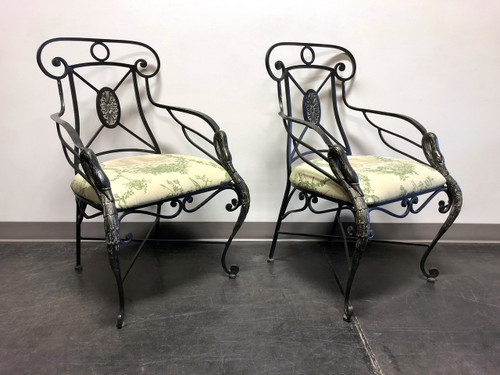 SOLD - AICO Wrought Iron Accent Dining Arm Chairs w Goose Neck Head Detail - Pair 1