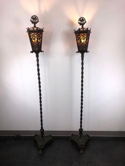 OSCAR BACH Segar Studios Bronze Torchieres Floor Lamps - Pair