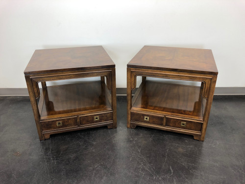 SOLD OUT - DREXEL HERITAGE Asian Chinoiserie Style Square End Side Tables