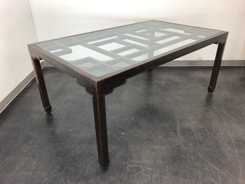 SOLD - Thomasville Asian Chinoiserie Style Rectangular Glass Top Dining Table