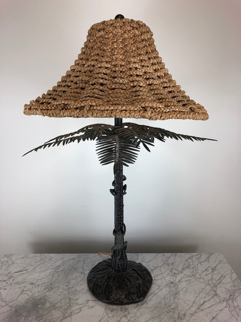 MAITLAND SMITH Monkeys Climbing Palm Tree Bronze Lamp
