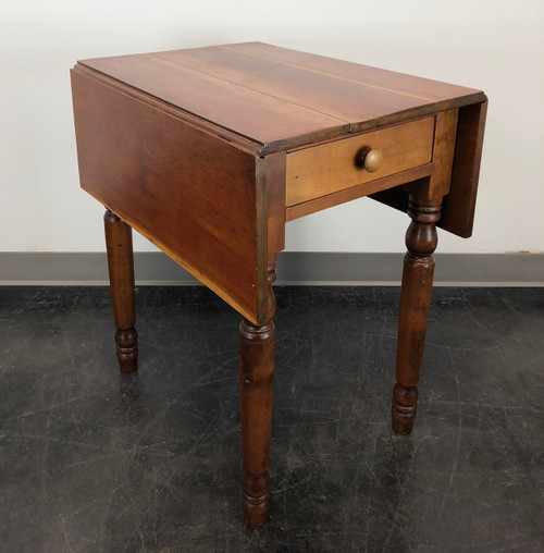 Antique American Cherry Drop Leaf Side Table W Turned Legs Boyd S