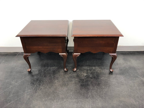 ... ETHAN ALLEN Queen Anne Style Cherry End Side Tables   Pair ...