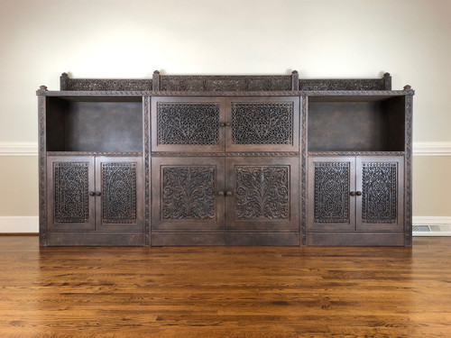 Monumental Handcarved Rosewood Shalimar Sideboard Credenza by Gilani