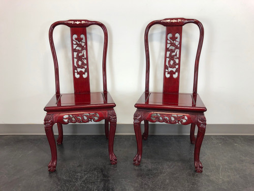 Chinese Carved Rosewood Mother of Pearl Inlay Dining Side Chairs - Pair 1