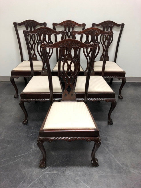 SOLD - 19th Century English Mahogany Chippendale Ball in Claw Dining Chairs - Set of 6