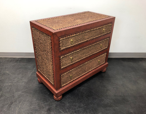 MAITLAND SMITH Tooled Leather & Grass Cloth Bachelor Chest