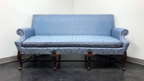 HICKORY CHAIR Queen Anne Sofa Settee in Blue Brocade