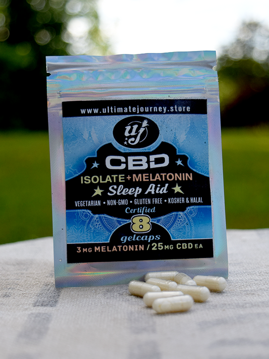 CBD Isolate + Melatonin-8 ct zip bags