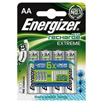 Energizer Rechargeable AAA Batteries Pack of 4 2300mAh